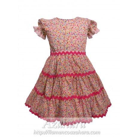 #Oferta #vestido #flamenco para #bebé. Con estilo floral y botones a modo de cierre. #moda #flamenca #2015