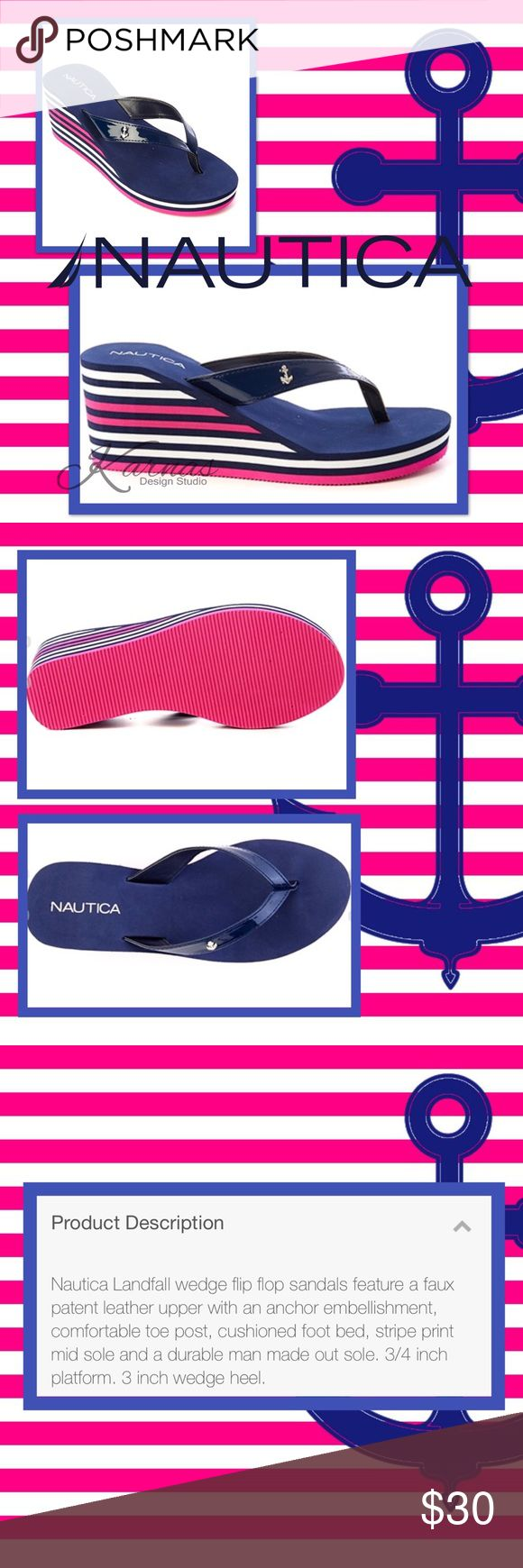 NAUTICA Landfall Wedge Sandals Flip Flops Sz 8 I love love love this color scheme! Beautiful Peacoat Navy, Bright Pink, and White wedges. Size 8 with packaging and box included. Please ask any questions. I ship daily. Thank you! 😍😘 Nautica Shoes Sandals