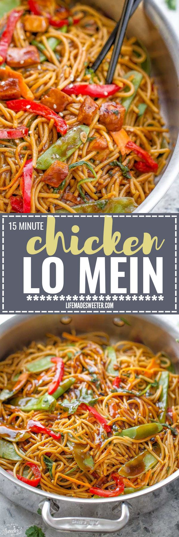 Easy Chicken Lo Mein is the perfect easy meal. Best of all, this authentic dish takes only 15 minutes to make in just ONE POT ONE PAN. Better than restaurant quality and so much easier than takeout! Weekly meal prep for the week and leftovers reheat beautifully and make great lunch bowls for work or school.