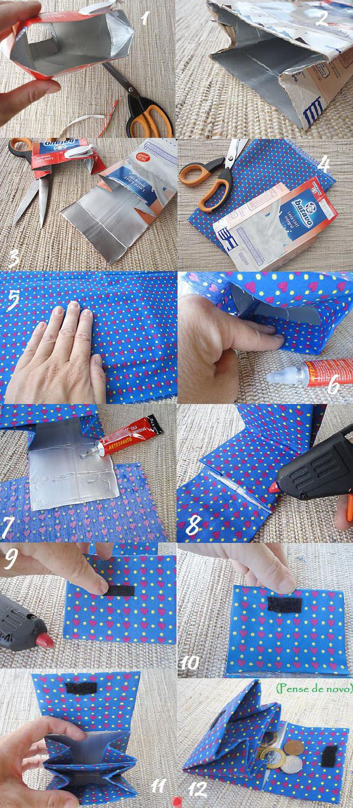 Wallet made from tetra pack - upcycling - something for older kids maybe?