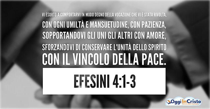 Io dunque, il prigioniero del Signore, vi esorto a comportarvi in modo degno della vocazione che vi è stata rivolta, con ogni umiltà e mansuetudine, con pazienza, sopportandovi gli uni gli altri con amore,  sforzandovi di conservare l'unità dello Spirito con il vincolo della pace.   #Efesini #pace #unità