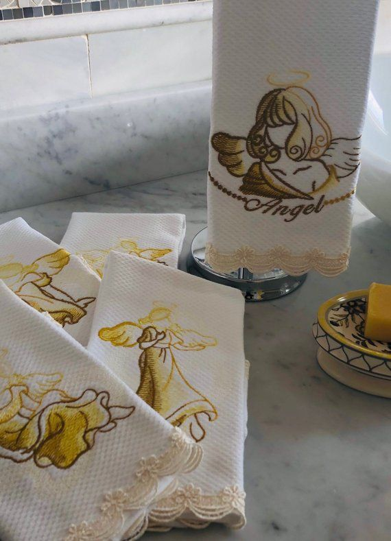 Embroidered Angels Fingertip Towels, custom made towels, personalized gifts, embroidered towels for bathroom or kitchen, housewarming gifts #BathroomDecor ...