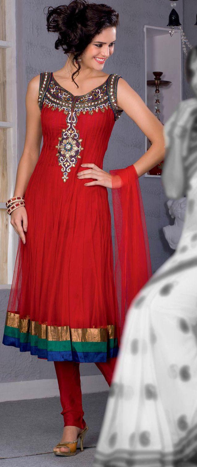 #Red #Anarkali Churidar Kameez @ $149.01