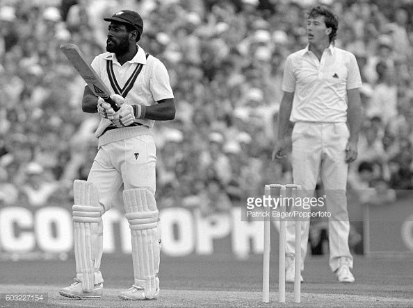 News Photo : Viv Richards of West Indies looks to see where a...