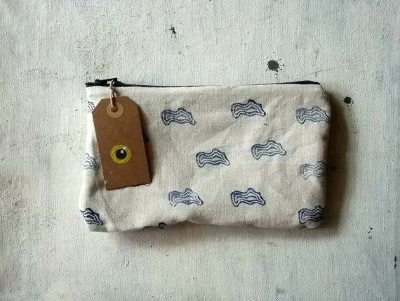 Blue clouds hand stamped pencils pouch handmade in cotton by vumap