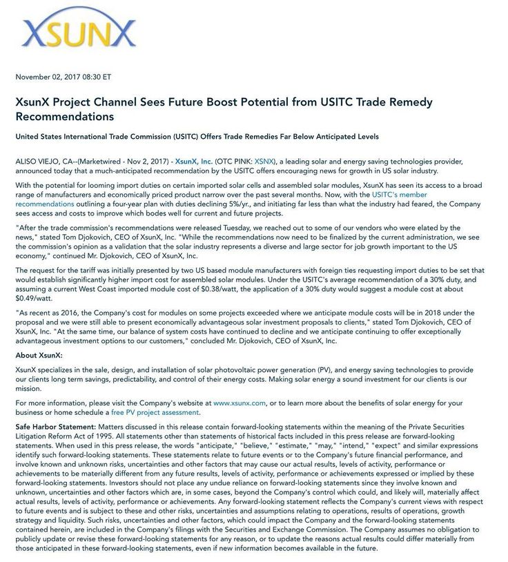 XSUNX (Stock Ticker: XSNX) Has News Out XsunX Project Channel Sees Future Boost Potential from USITC Trade Remedy Recommendations. #news #stockmarket #trading #investing #daytrading #pennystocks #stocks #options #forex #money #invest #wallstreet #investor #stocktrader #trader #bitcoin #forextrader #investment #finance #nasdaq #daytrader #realestate #technology #energy #solar #solarpanels #solarstocks #solarpower #solarenergy