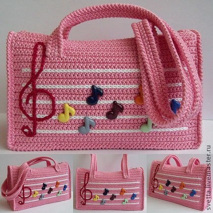 Cartera great little tote for a pre-school or Kindergarten girl too show off to her new littke girlfriends, Pink purse decirated with butterfies and musuc sysbles and a nice handle,