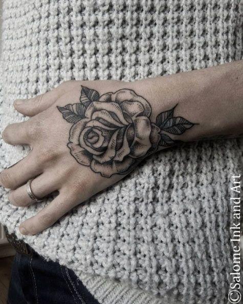 Blackwork Rose on Hand by Salome Trujillo
