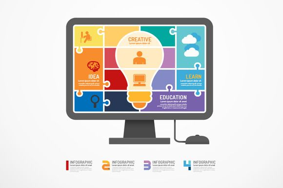 Check out infographic Template computer jigsaw by Pongsuwan on Creative Market