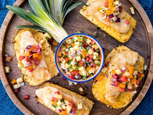 Get Grilled Fish on Pineapple Planks with Spicy Pineapple Salsa Recipe from Food Network