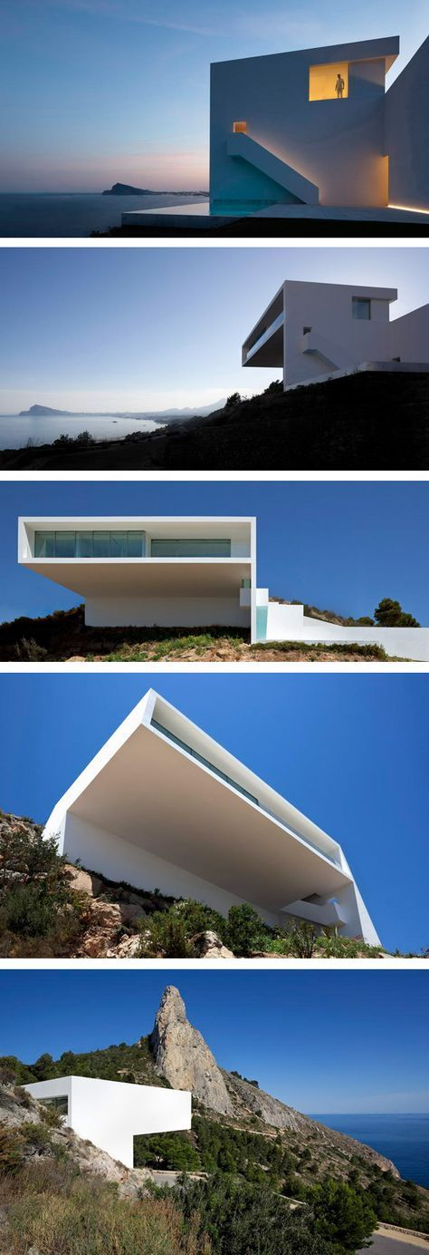 """""""casa del acantilado"""" Cliff House by Fran Silvestre Arquitectos. Located on the Spanish east cost."""