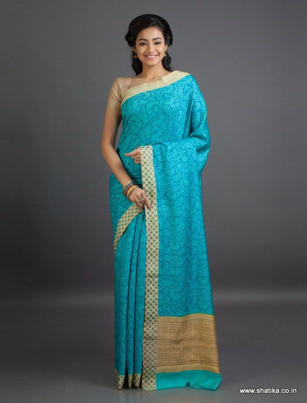 Kavita Ice Blue Leaves Mysore #GeorgetteSilkSaree