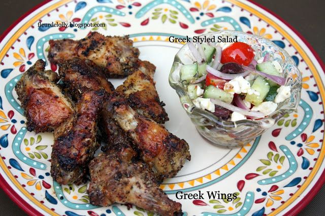 Fleur de Lolly: Wing Wednesday:  Greek Seasoned Wings.  Baked for a delicious crunch and full of Greek flavors!