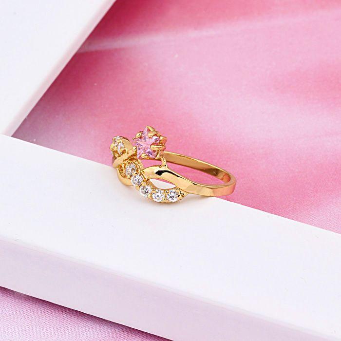 Inel placat cu aur galben 18k cu zirconiu roz