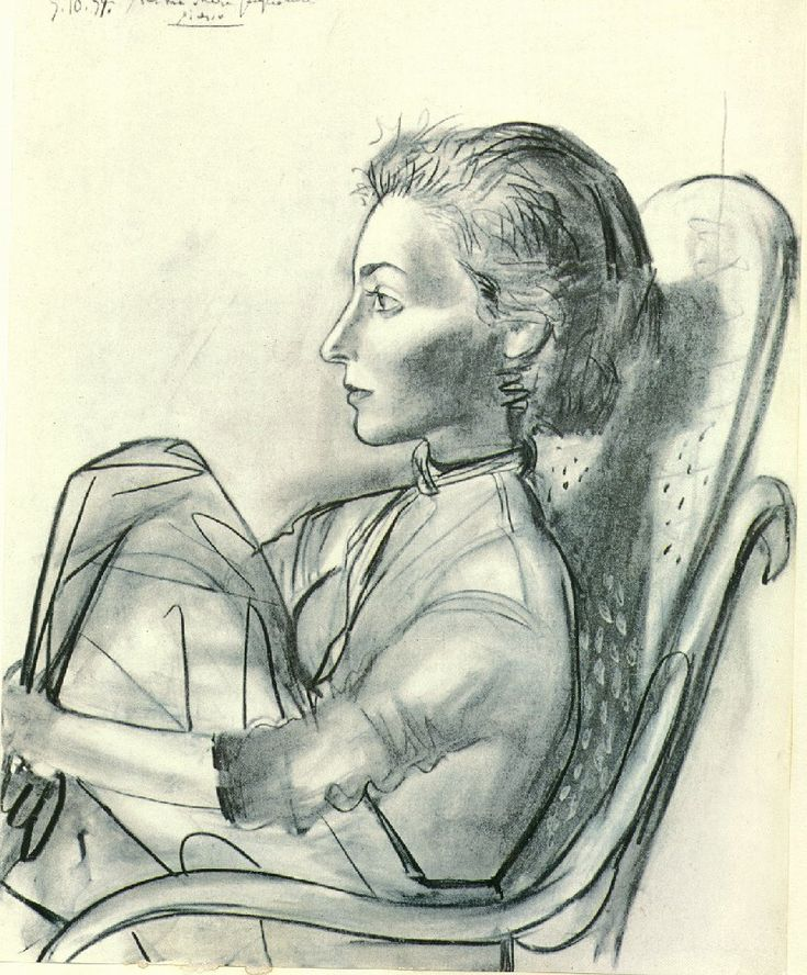 Picasso - Untitled, 1954 - Pablo Picasso . (Jacqueline Rocque) 1954. Oil and charcoal on canvas