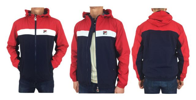 """""""Classic 80s fila vintage peacoat blue colour with red and white jacket"""" by intrend-clothing on Polyvore featuring vintage, men's fashion and menswear"""