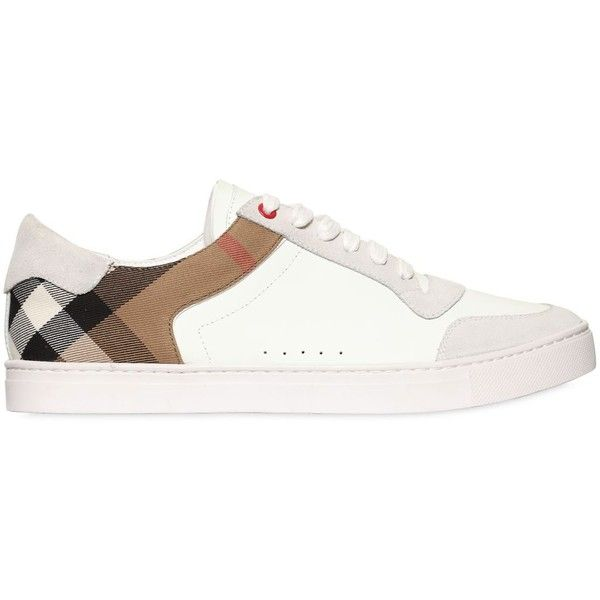 Burberry Men Check, Suede & Leather Sneakers ($450) ❤ liked on Polyvore featuring men's fashion, men's shoes, men's sneakers, mens suede shoes, mens sneakers, mens shoes, burberry mens sneakers and burberry mens shoes