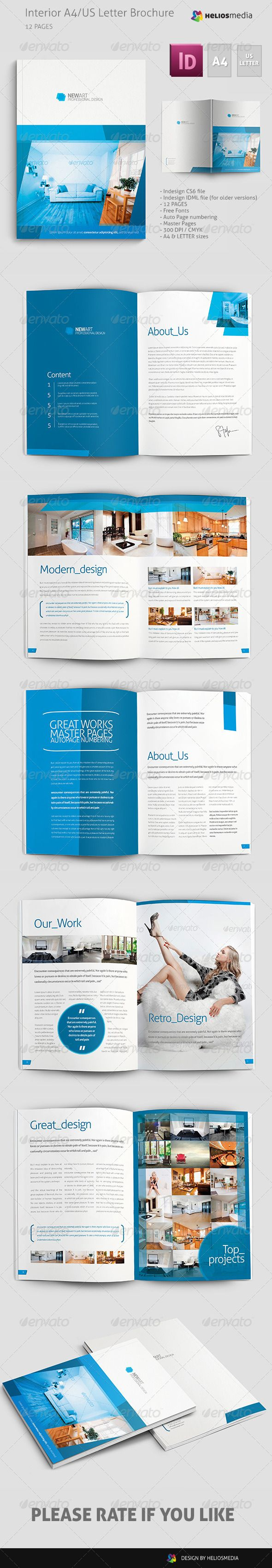 Interior Brochure / Catalog  #GraphicRiver           	 Simple and Clean Interior or Corporate Brochure.    	 FEATURES   	 - Indesign CS6 file - Indesign IDML file (for older versions) - 12 PAGES - Free Fonts - Auto Page numbering - Master Pages - 300 DPI / CMYK - A4 & LETTER sizes + bleeds - Images are not included  	 FONTS   	 ALLER –  .fontsquirrel /fonts/Aller   	   	                                     	   Created: 15August13 GraphicsFilesIncluded: InDesignINDD Layered: No…