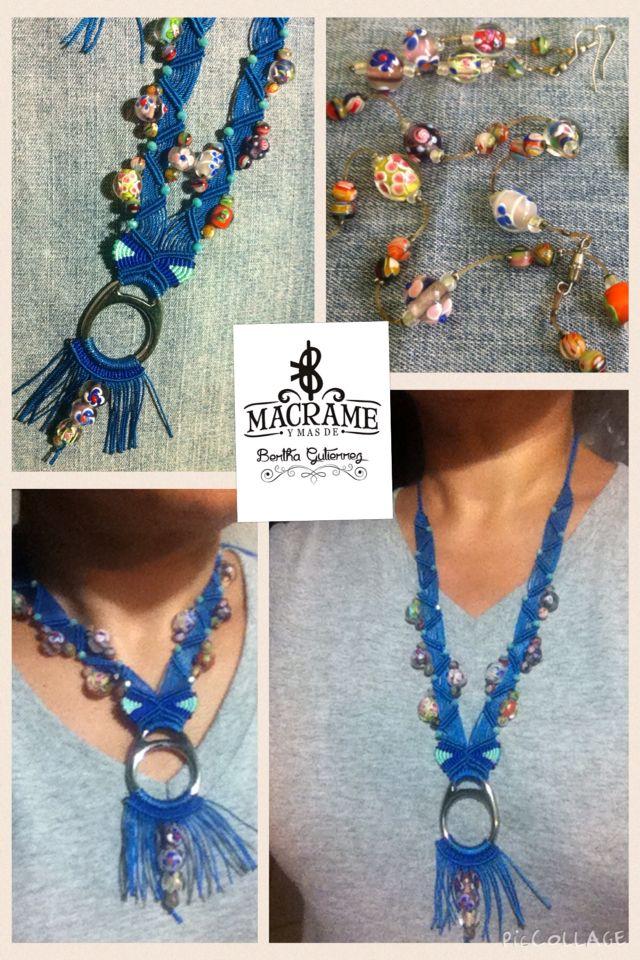 Reciclando viejos accesorios en este collar azul macramé