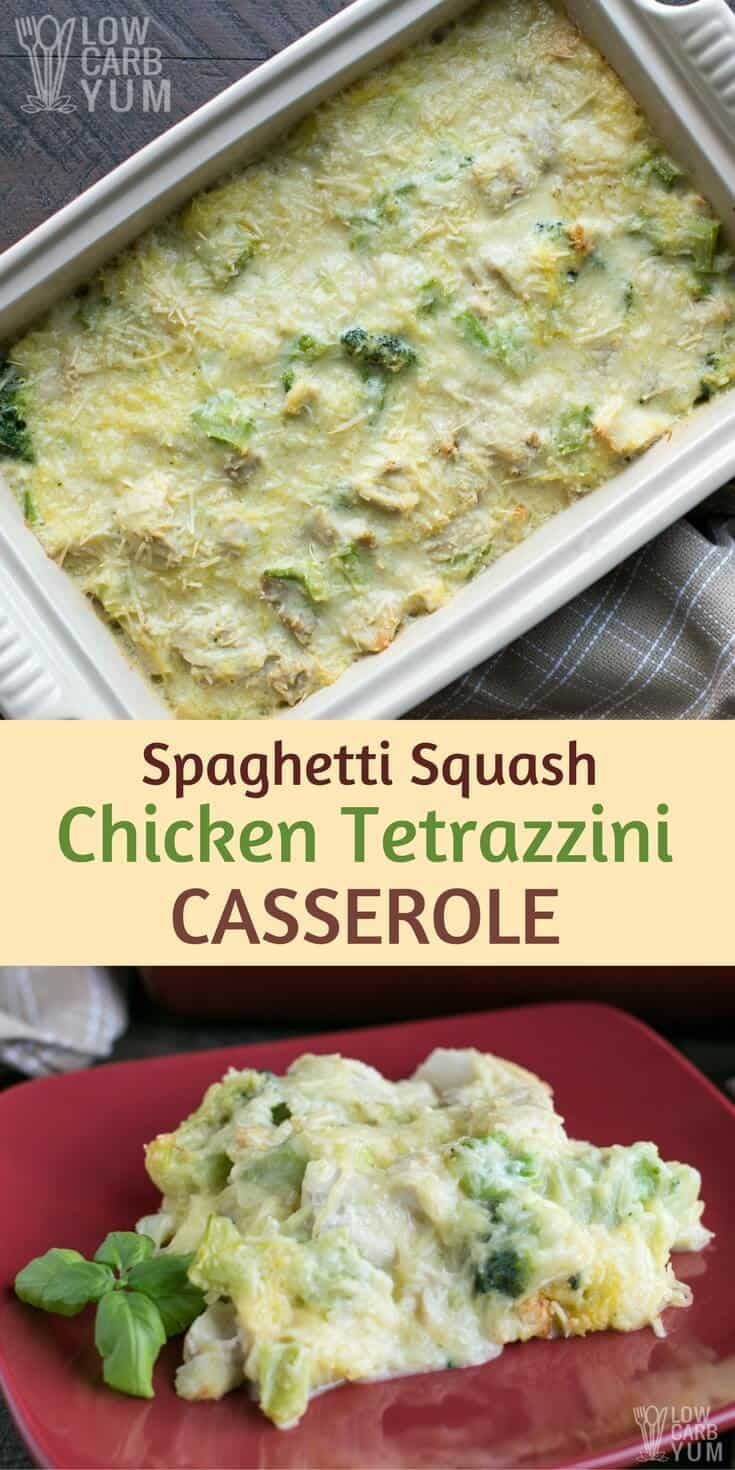 This easy chicken tetrazzini casserole recipe is a great way to use up leftover chicken or turkey. Poached chicken can also be used if no precooked meat is on hand. #glutenfree #lowcarb #keto | LowCarbYum.com via @lowcarbyum