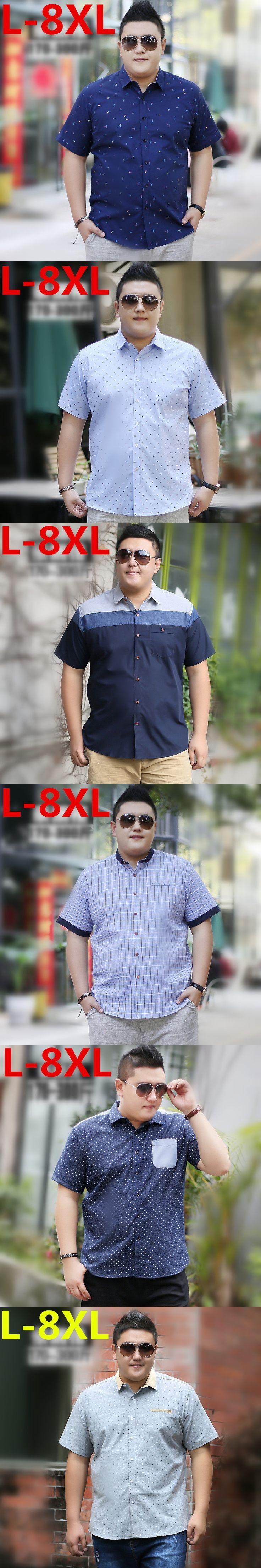 2017 new  plus size Men Trendy Short Sleeve Fit Pattern Print Summer Casual Button Down 8XL 7XL 6XL 5XL 4XL 3XL Shirts