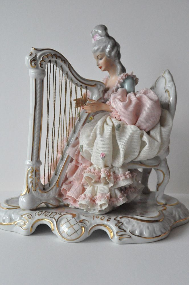 Beautiful Large Lady Lace Porcelain Figurine, Dresden Germany.