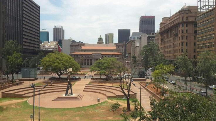 Johannesburg Public Library across Beyers Naude Square and Town Hall 2015