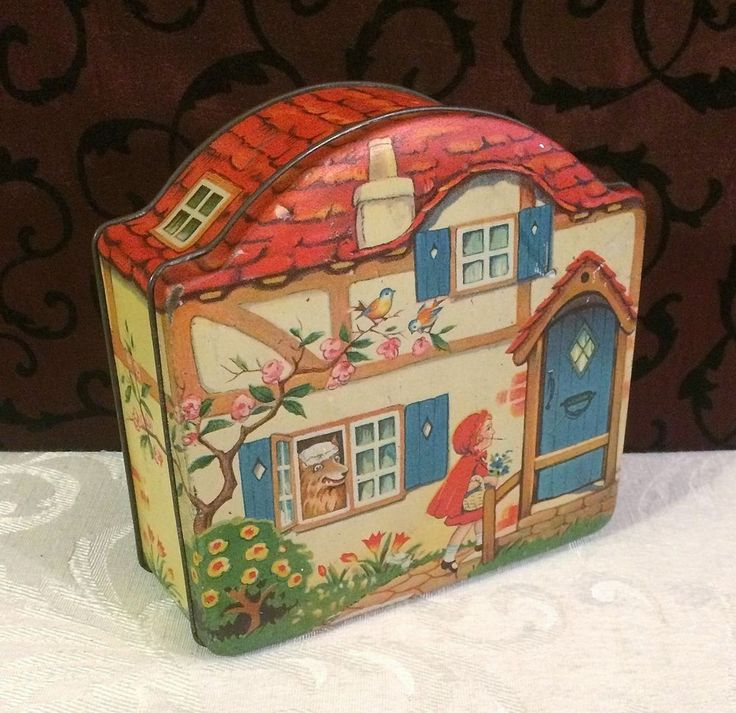 Horner Little Red Riding Hood Vintage Tin Box c 1930 Nursery Rhyme Fary Tale #Horner