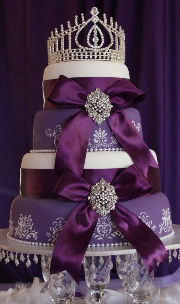 Royal Purple Wedding Cake adorned with satin ribbon an jewels