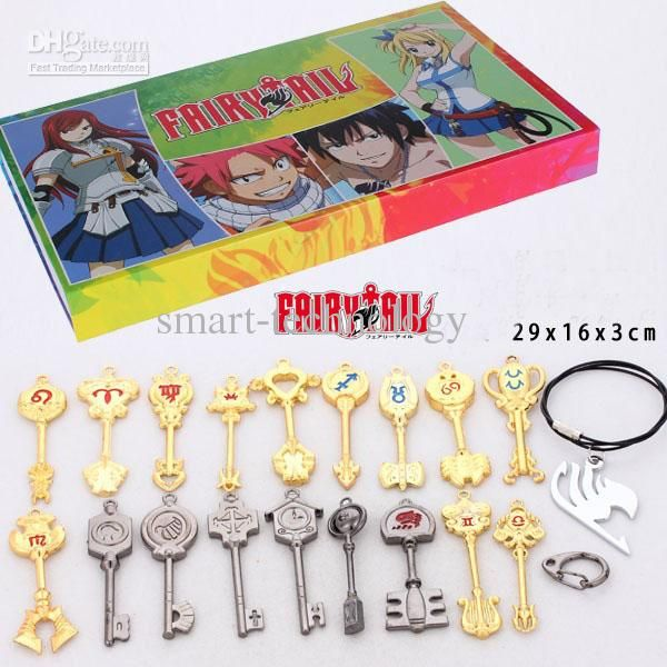 Wholesale Retail Fairy Tail Lucy Keychain Scale amp; Free Tattoo Heartfilia sign of the zodiac gold key18 styles, Free shipping, $10.45-12.54/Piece | DHgate