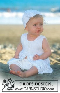 crochet baby Short sleeved dress and hat in Safran ~ DROPS Design