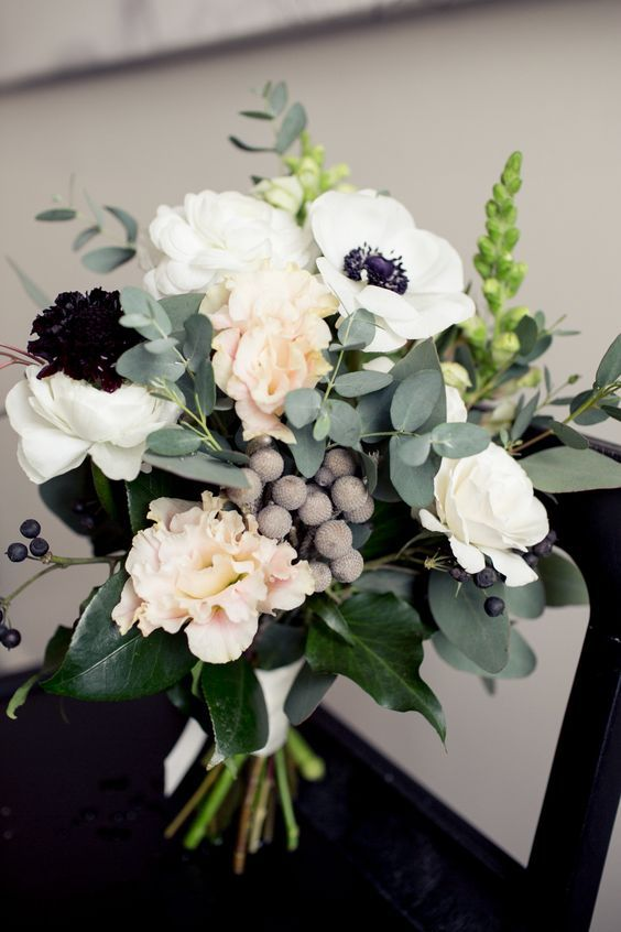 anemone barries eucalyptus wedding bouquet / http://www.deerpearlflowers.com/greenery-eucalyptus-wedding-decor-ideas/2/