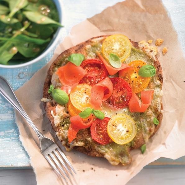 Pizza au pesto et au saumon fumé - Recette du livre Zéro diète
