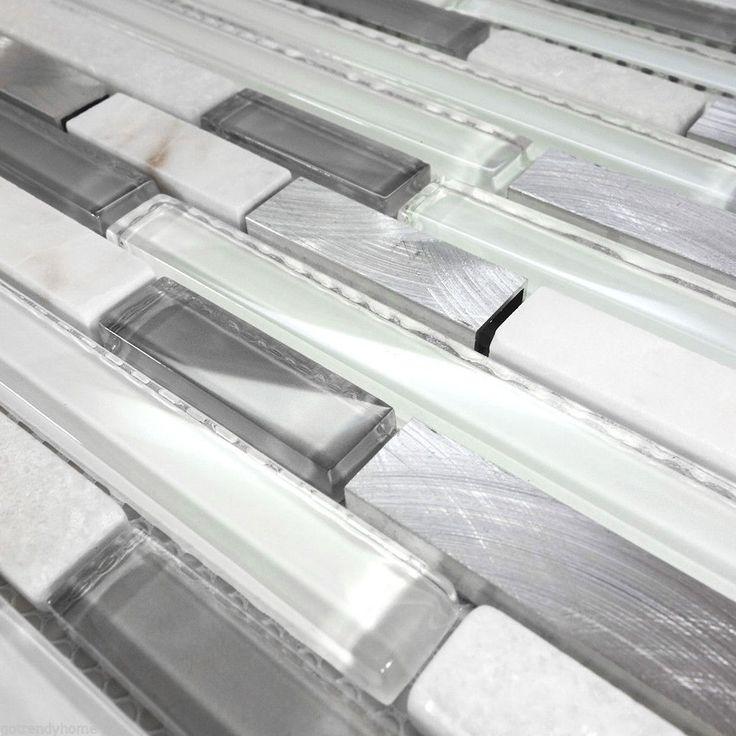 White Glass Natural Stone Metal Linear Glass Mosaic Tile Kitchen Backsplash | eBay