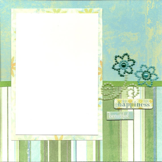 8x8 Premade Scrapbook Page Blue & Green Flowers by MayQueenCrafts, $5.00