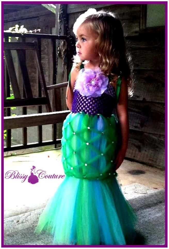 The famous Little Mermaid Tutu Dress Costume by Blissy Couture!  This dress is so pretty, embellished with lots of bling and looks just like a mermaid!  Your little one will love it!!  By http://www.blissycouture.net/