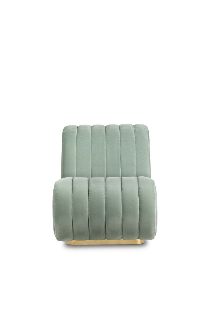 Sophia is a particular bench seat sofa that draws inspiration from the aesthetics of Mid-century Modern Design. It is upholstered in velvet and stitched from the top to the bottom. The base is made of gold plated brass and it has button tufted sides. The slightly degree reclining turns it into a lounge sofa.