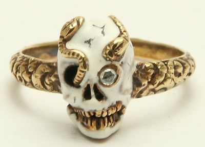 Memento Mori Enamel Skull  Snake Ring Circa 1800's