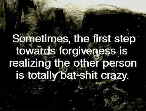 Sometimes, the first step towards forgiveness is realizing the other person is totally bat-crap crazy.