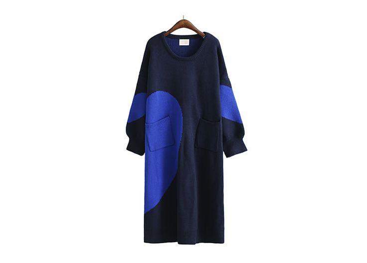 [EAM] Новинка 2017 на осень зиму одноцветное colid Круглый воротник красный темно синие Сплит Совместное длинный вязаный свитер женская мода прилив J995 купить на AliExpress