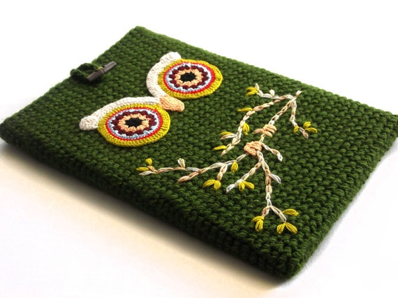 Green Owl Laptop MacBook Pro/Air Sleeve 13 inch by dudush on Etsy, $35.00