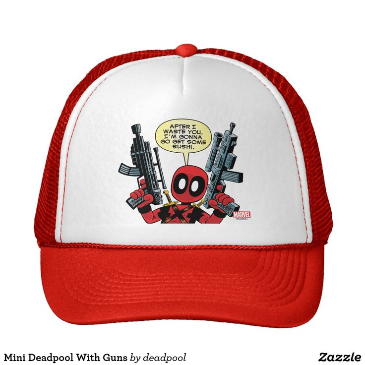 Mini Deadpool With Guns Trucker Hat #superhero #Marvel #deadpool #comics #official #licensed #merchandised #personal #fashion #trucker #hat #cap