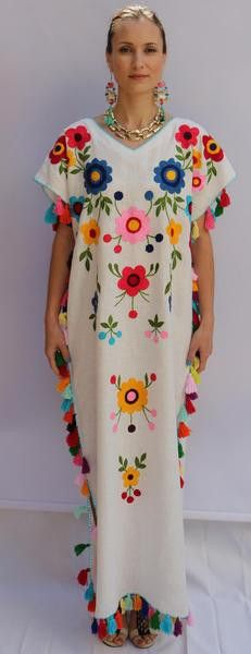 White multi-color Floral hand Embroidered Linen Folk tassels Maxi caftan style Dress. Sizes - XS-XXL 003