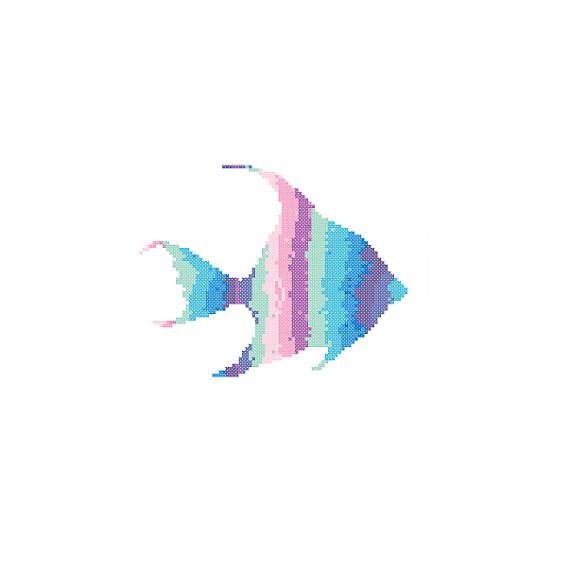 Angel Fish Cross Stitch Pattern blue pink wall art sea life