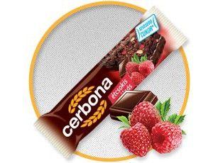 Батончик Cerbona, злаковый с малиной и горьким шоколадом, 20 г