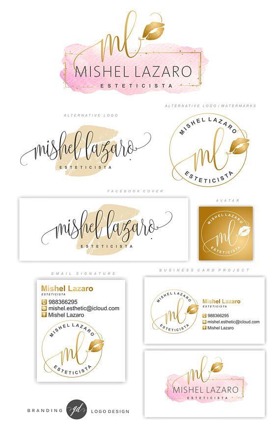 Make up Logo Design, Lips Logo Design, Rose gold Branding kit, Makeup Rose Gold ...