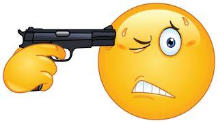 emoticon pointing a gun on his head sticker