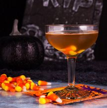 This Candy Corn Cordial recipe is a great tequila cocktail that mimicks the taste of the sweet Halloween candy and includes butterscotch and cocoa.