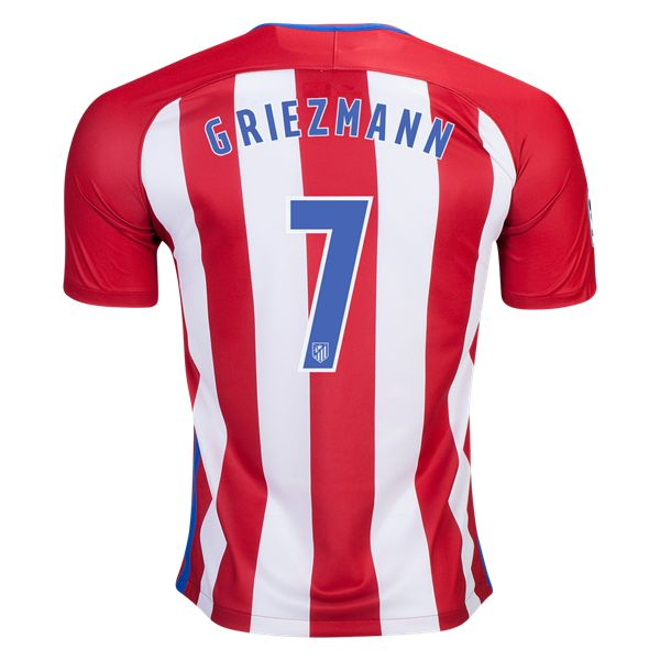 Atletico Madrid 16/17 Antoine Griezmann Home Soccer Jersey //   The seats of home ground the Vicente Calderon are arranged in red and white stripes. For the stadium's 50th anniversary season, the team return to the classic red and white stripe jersey, which includes blue on the neck and sleeves.  WorldSoccershop.com |