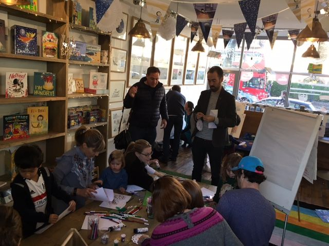 Benji Davies came to read us The Storm Whale in Winter at Storytime Sunday, a special visit for his new exhibition. Lots of Noi decorations were made!